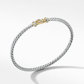 Cable Buckle Collection® Bracelet with 18K Yellow Gold and Diamonds