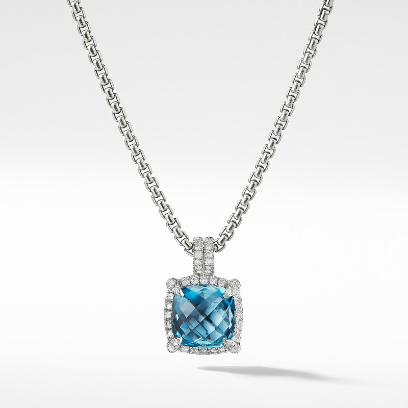 David Yurman Chatelaine Pave Bezel Pendant Necklace with Hampton Blue Topaz and Diamonds, 9mm