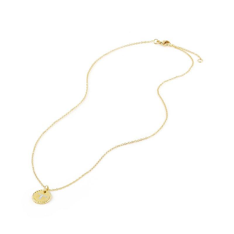 "David Yurman ""T"" Pendant with Diamonds in Gold on Chain"