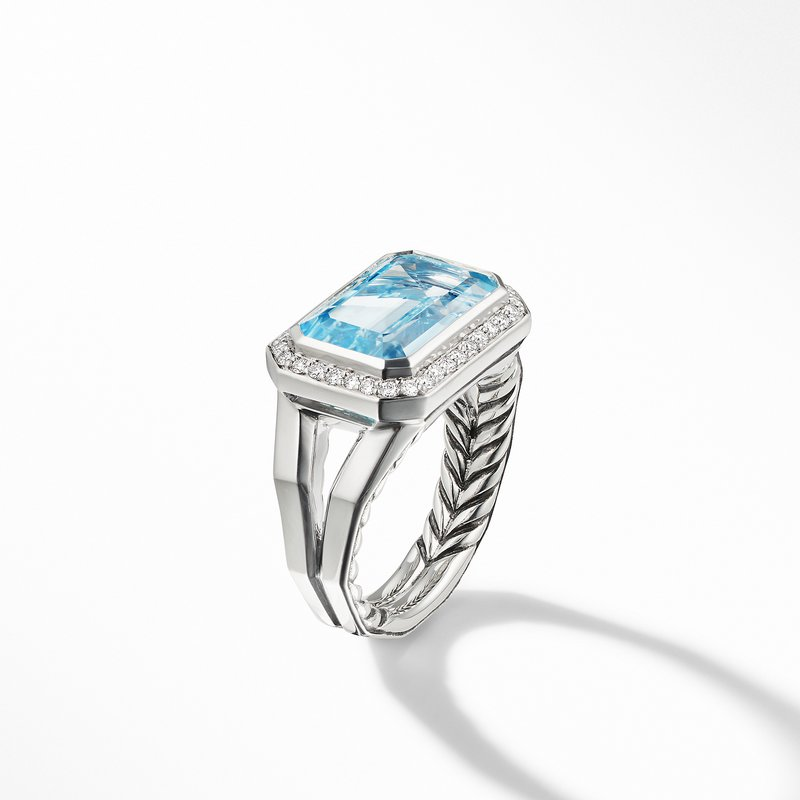 David Yurman Novella Statement Ring with Blue Topaz and Pavé Diamonds