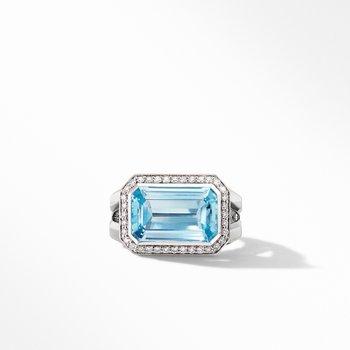 Novella Statement Ring with Blue Topaz and Pavé Diamonds