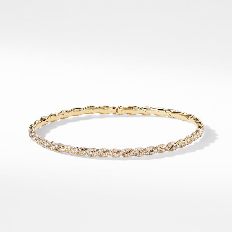 David Yurman Pavéflex Single Row Bracelet with Diamonds in 18K Gold