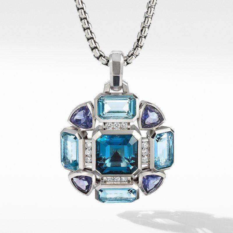 David Yurman Novella Statement Pendant with Blue Topaz and Pavé Diamonds