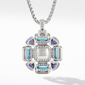 Novella Statement Pendant with Blue Topaz and Pavé Diamonds