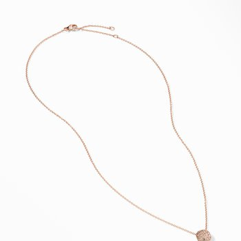 Cushion Stud Pendant Necklace in 18K Rose Gold with Pavé Cognac Diamonds
