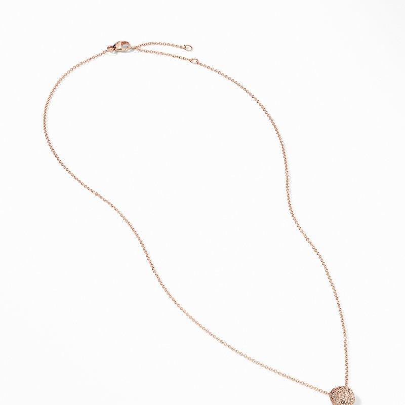 David Yurman Cushion Stud Pendant Necklace in 18K Rose Gold with Pavé Cognac Diamonds