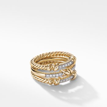 Petite Helena Three Row Ring in 18K Yellow Gold with Diamonds