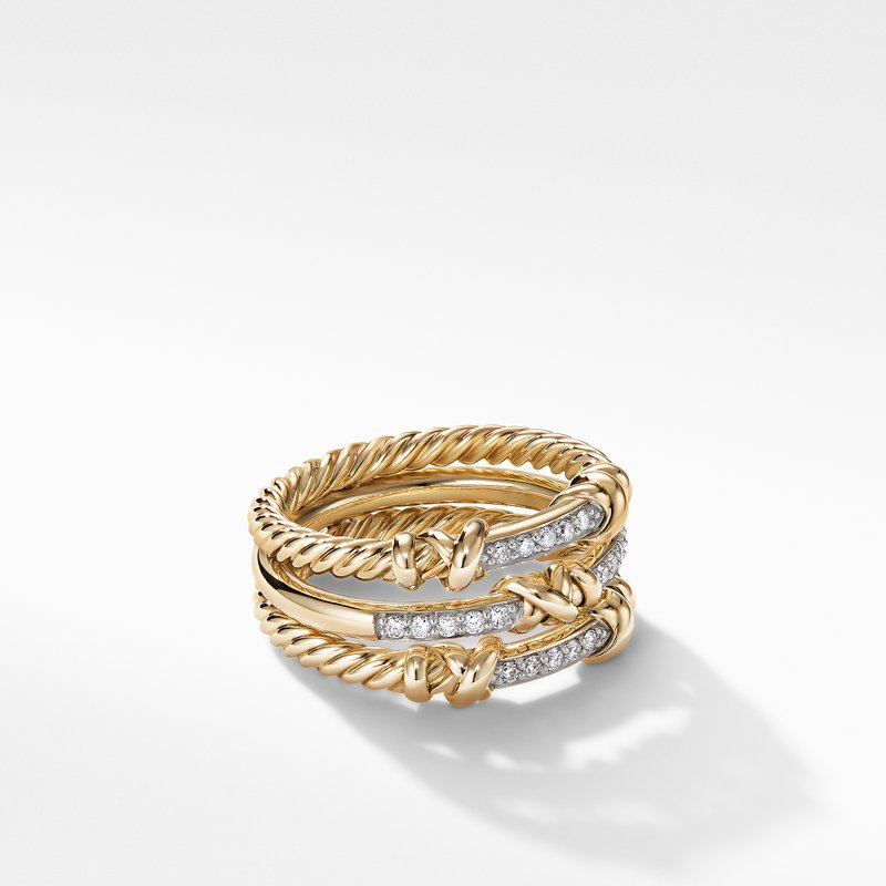 David Yurman Petite Helena Three Row Ring in 18K Yellow Gold with Diamonds
