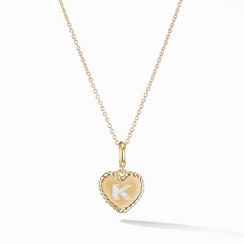 Initial Heart Charm Necklace in 18K Yellow Gold with Pavé Diamonds