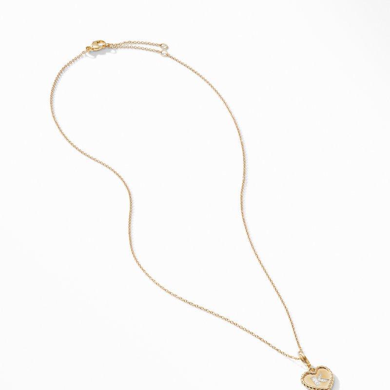 David Yurman Initial Heart Charm Necklace in 18K Yellow Gold with Pavé Diamonds