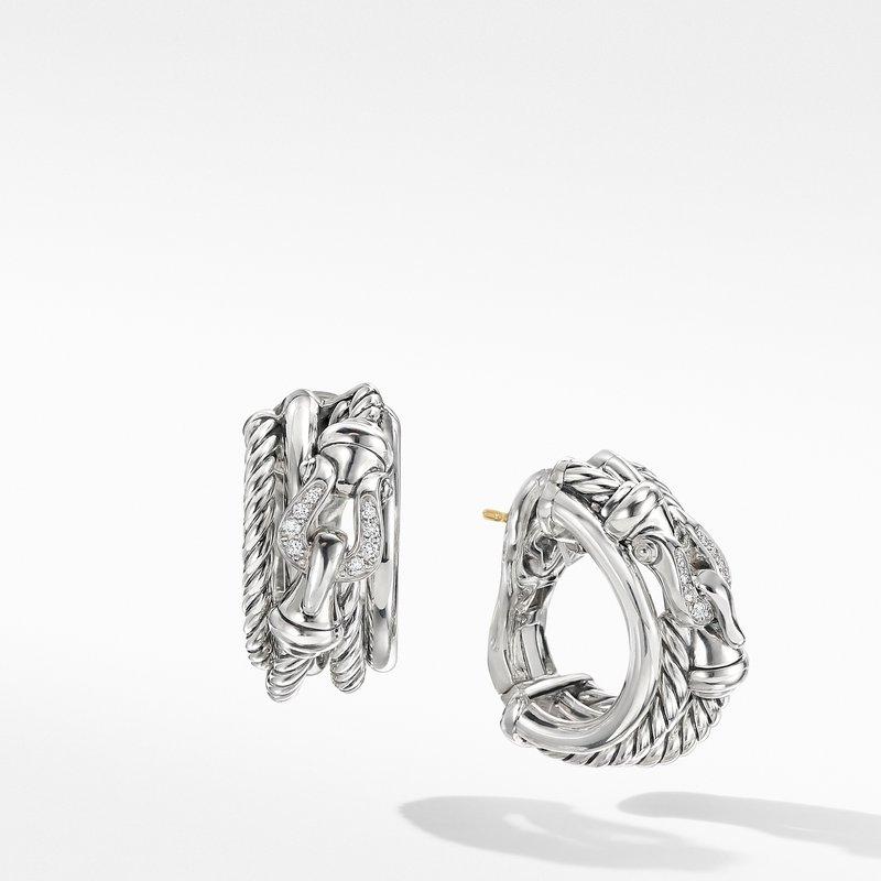 David Yurman Buckle Shrimp Earrings with Diamonds