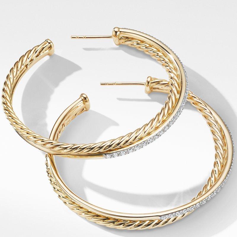 David Yurman Crossover XL Hoop Earrings in 18K Yellow Gold with Diamonds