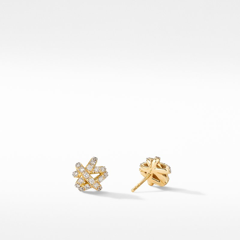 David Yurman The Crossover Collection® Stud Earrings in 18K Yellow Gold with Full Pavé Diamonds