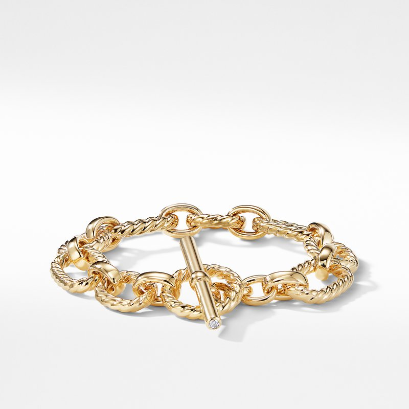 David Yurman Cushion Link Bracelet with Diamonds in 18K Gold