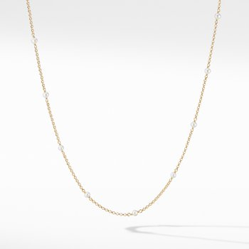 Cable Collectibles® Bead and Chain Necklace in 18K Yellow Gold with Pearls
