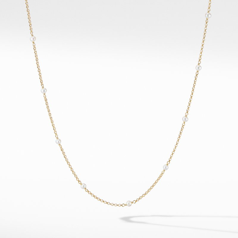 David Yurman Cable Collectibles® Bead and Chain Necklace in 18K Yellow Gold with Pearls