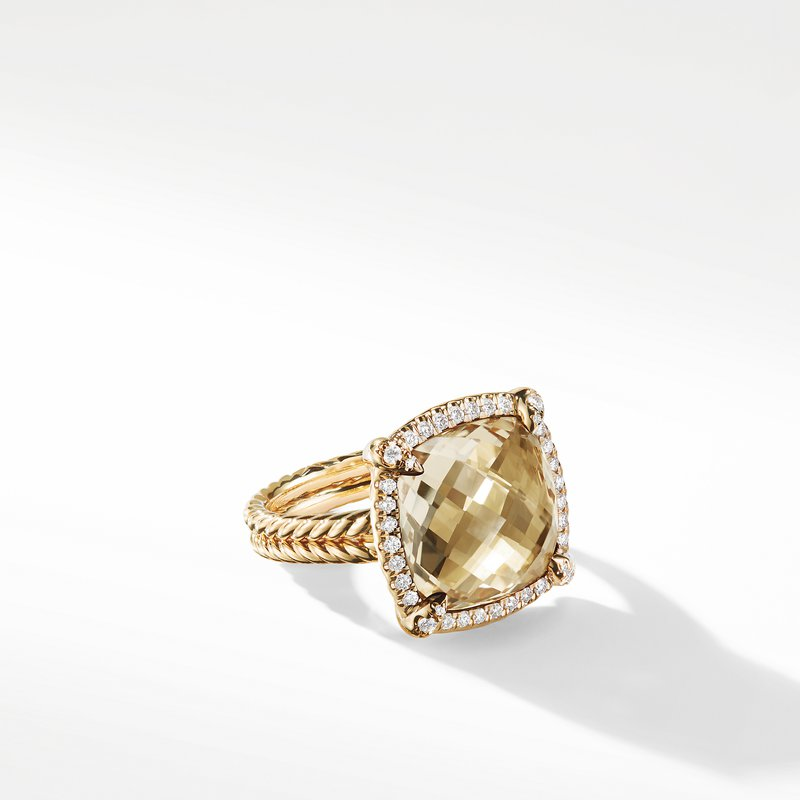 David Yurman Chatelaine Pave Bezel Ring with Champagne Citrine and Diamonds in 18K Gold, 14mm