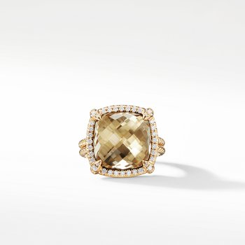 Chatelaine Pave Bezel Ring with Champagne Citrine and Diamonds in 18K Gold, 14mm