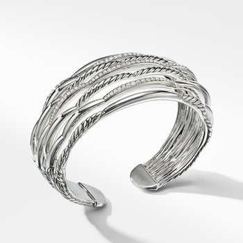 Tides Wide Woven Cuff with Diamonds