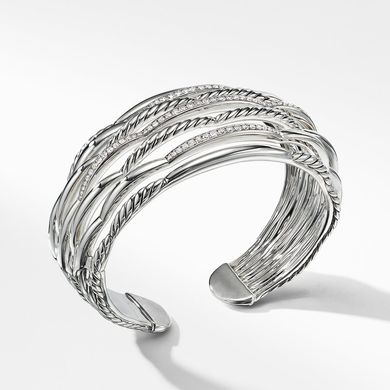 David Yurman Tides Wide Woven Cuff with Diamonds