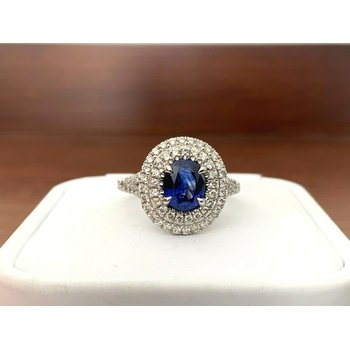 Sapphire 1.65 ct Oval Halo Ring