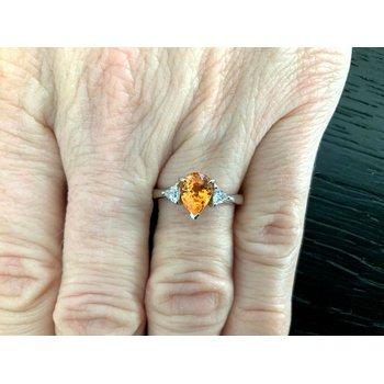 Spessartine Garnet 1.58 ct Pear w Diamonds