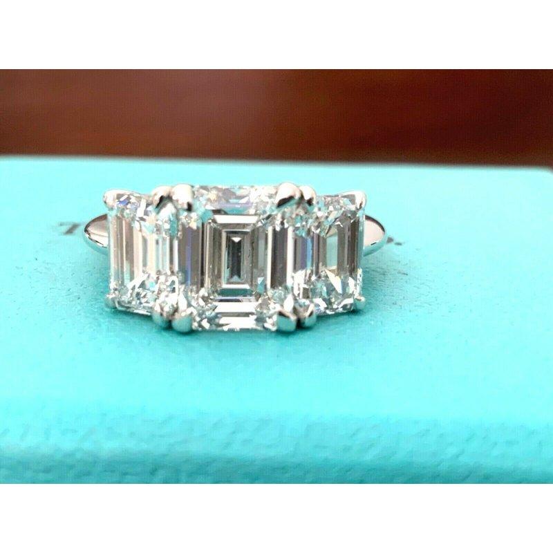 Tiffany Emerald 3 Stone Ring 4.18 ct E VVS $125k NEW