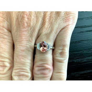 2.01 ct RARE Pink Padparadscha Sapphire Diamond Ring