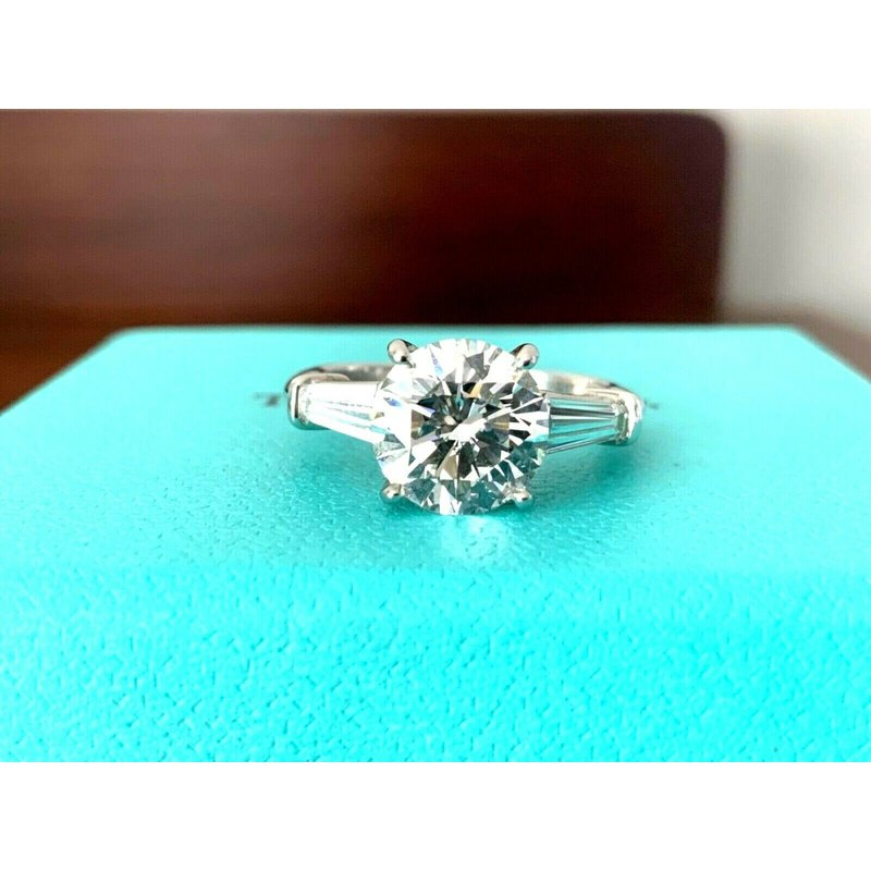 Tiffany 3 Stone Round with Baguettes 2.72 ct