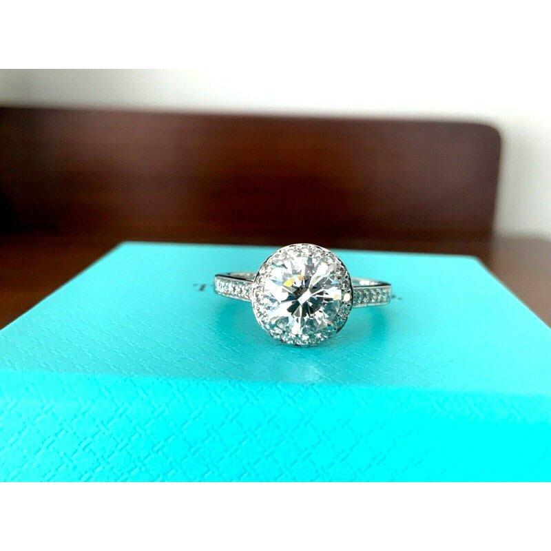 Pre-Loved Jewelry Tiffany Round HALO 1.85 ct G VVS2 3 EXC $40k NEW