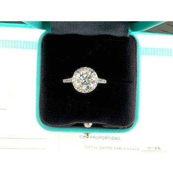 Tiffany Round HALO 1.85 ct G VVS2 3 EXC $40k NEW