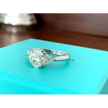 Tiffany Oval Three Stone 1.42 ct $19k NEW