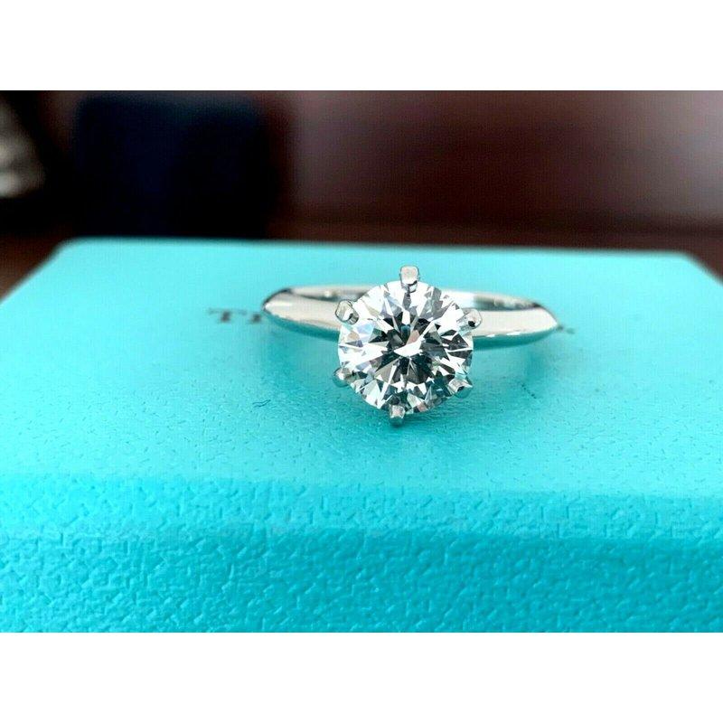 Tiffany Round 1.42 ct H VS2 3 EXC $28k NEW