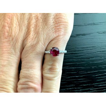 1.21 ct Thai Ruby and Diamond Ring GIA Certified