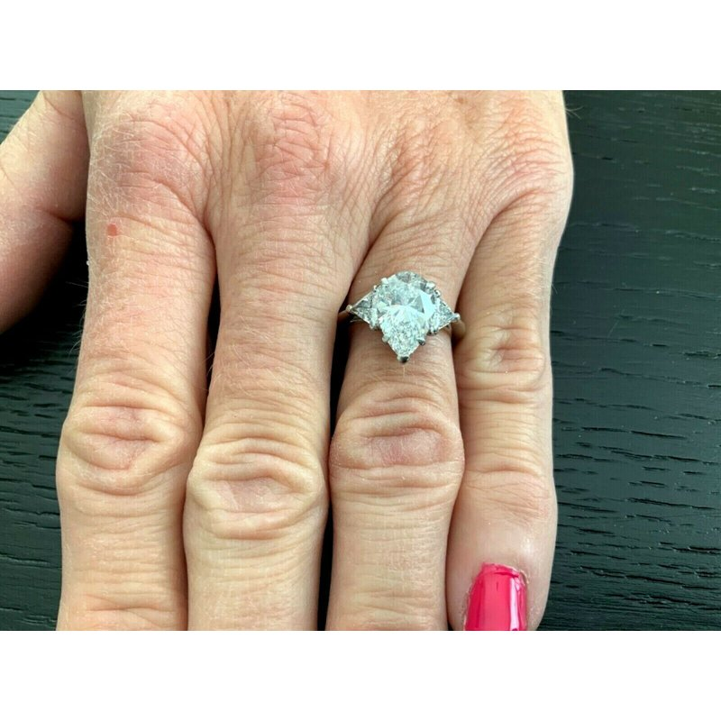 Pre-Loved Jewelry Tiffany 3.37 ct Brilliant Pear with Trillions D Color $129k NEW