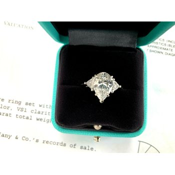 Tiffany 3.37 ct Brilliant Pear with Trillions D Color $129k NEW