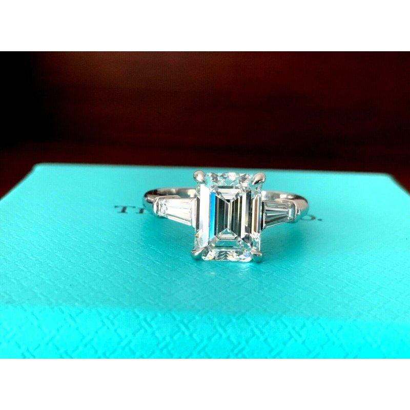 Tiffany Emerald Cut 3 Stone 3.08 ct F VS1 $89k NEW