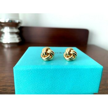 Tiffany 18k Yellow Gold Knot Earrings