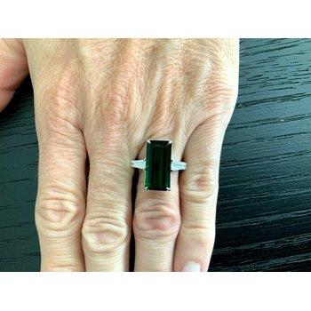 8.49 ct Dark Green Tourmaline and Diamond Ring