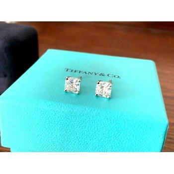 Tiffany 2.10 ct LUCIDA Stud Earrings G VVS1/2 $30k NEW