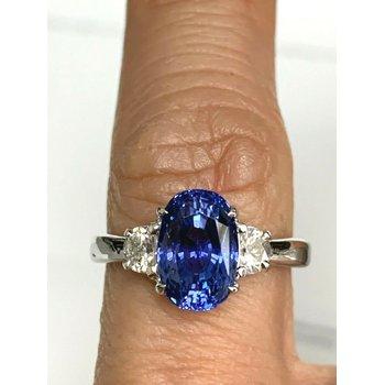 3.79 ct Sri Lankan VIVID Blue Natural Sapphire and Diamond Ring