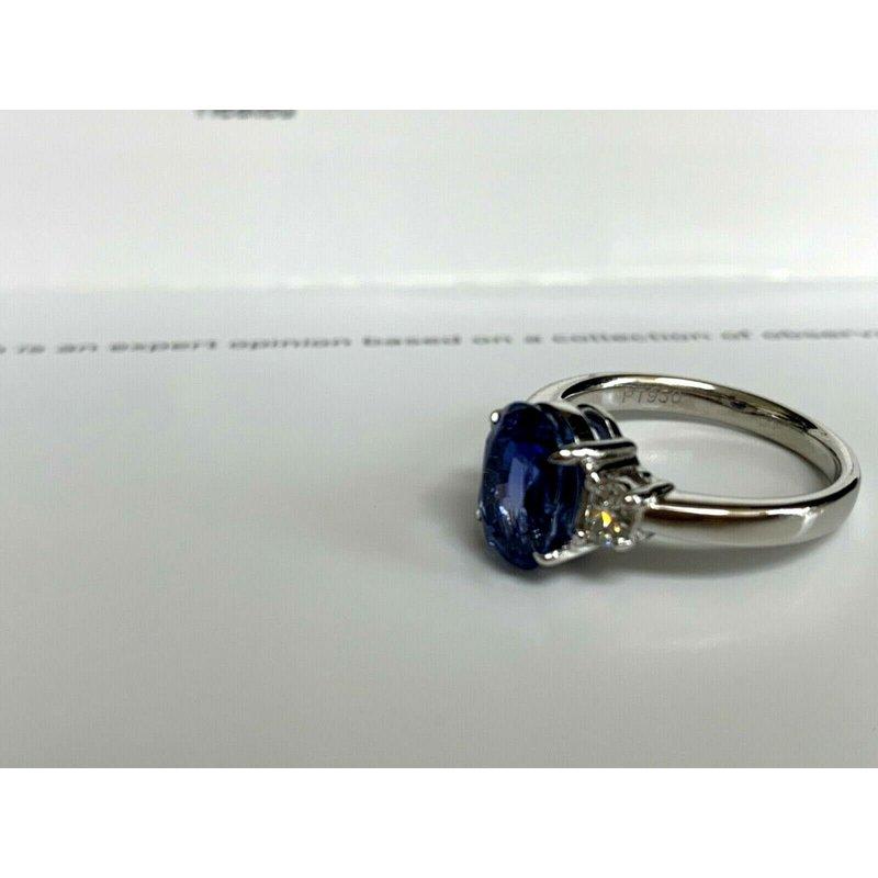 Pre-Loved Jewelry 3.79 ct Sri Lankan VIVID Blue Natural Sapphire and Diamond Ring