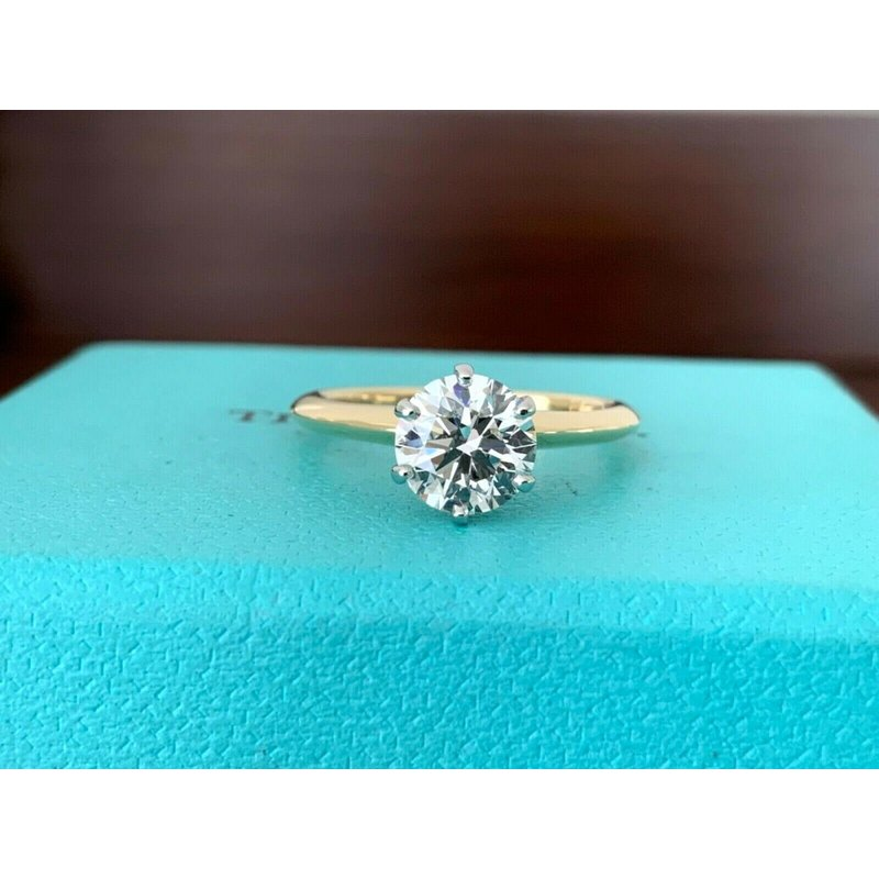 Tiffany Round 1.22 18k Yellow Gold H Int FLAWLESS $22k NEW