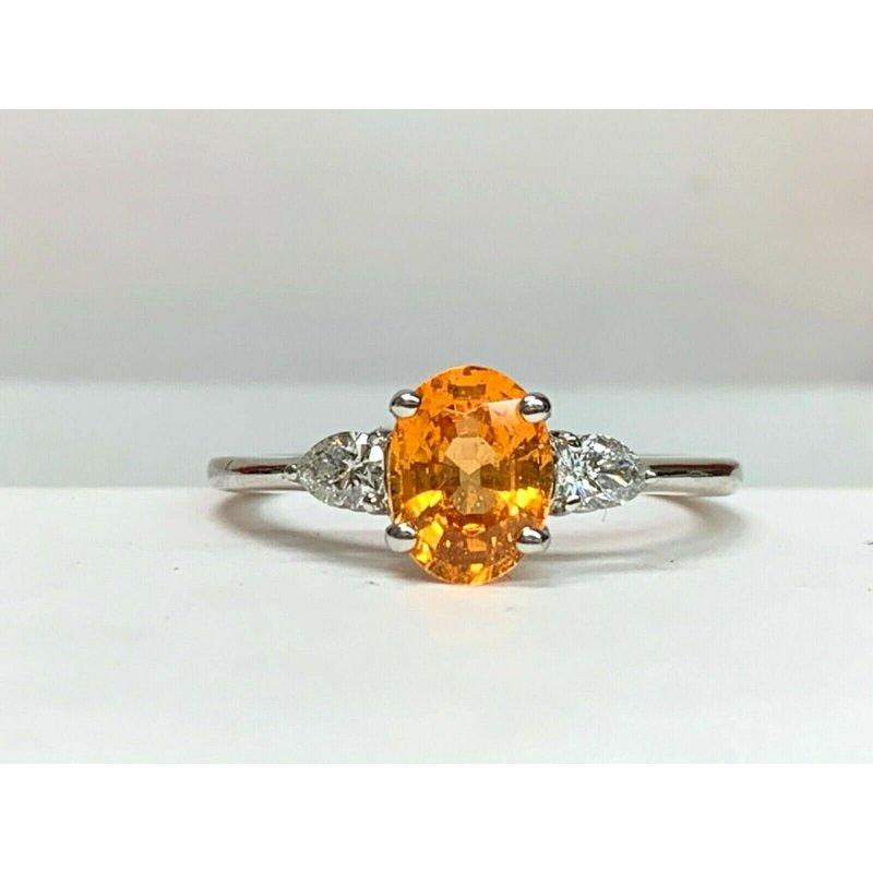 Pre-Loved Jewelry 1.51 ct  ORANGE Spessartine Garnet with Diamonds