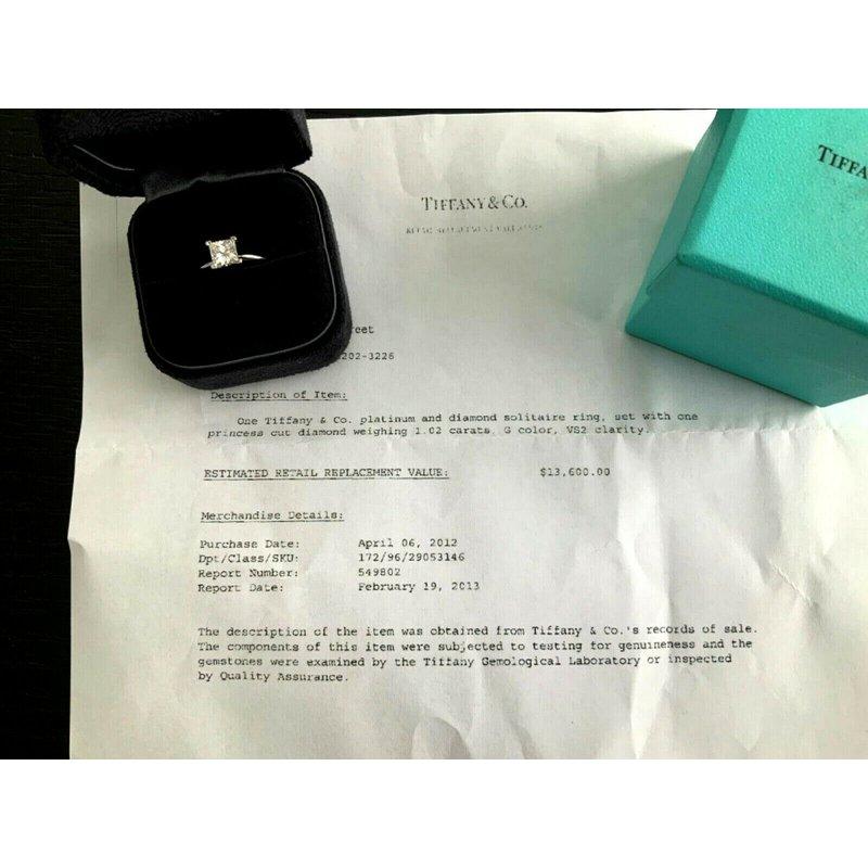 Pre-Loved Jewelry Tiffany Princess 1.02 ct G VS2 $16k NEW