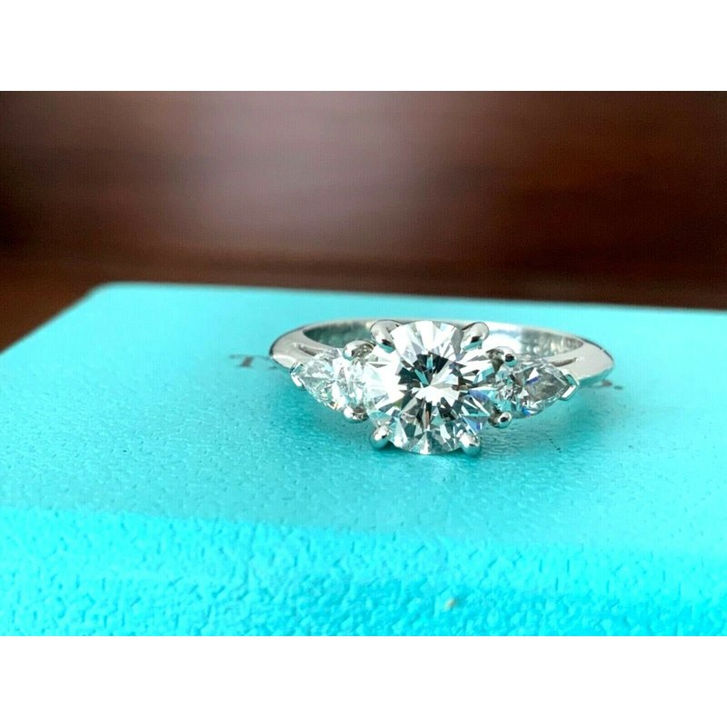 Tiffany Round with Pears 1.55 ct G VVS2 $25k NEW