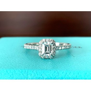 Tiffany Emerald Cut .36 ct E VS2 3 EXC $7k NEW