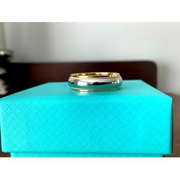 Tiffany 6 mm Platinum and 18k Gold Wedding Band size 9