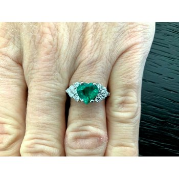 1.47 ct Heart Shaped Emerald and Diamond Ring RARE