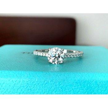 Tiffany Round NOVO .90 ct D VS2 3 EXC $13k NEW